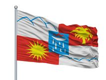 Samara City Flag On Flagpole Ryssland som isoleras på vit bakgrund stock illustrationer