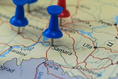Samara city pinned on a map of Russia among other World cup 2018 venues Royalty Free Stock Photos