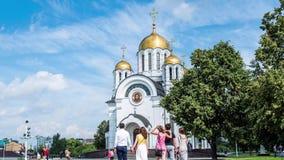 Samara Glory Square in der Stadt von Samara auf der Wolga in Russland stock footage