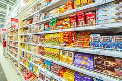 Samara March 2019: a large selection of cookies in the mall. stock image