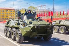 Samara, May 2018: BTR-82 armored personnel carrier on a summer sunny day. Russia, Samara, May 2018: BTR-82 armored personnel carrier on a summer sunny day royalty free stock image