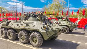 Samara, May 2018: BTR-82 armored personnel carrier on a summer sunny day. Russia, Samara, May 2018: BTR-82 armored personnel carrier on a summer sunny day stock images