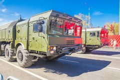 Samara, May 2018: Mobile ballistic missile system 9К720 Iskander on a city street royalty free stock image
