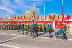 Samara, May 2018: Servicemen of the guard of honor carry the banner of Victory and the Russian tricolor at the ceremonial march of. Russia, Samara, May 2018 royalty free stock photos