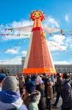 Samara people celebrates Shrovetide. Big doll for the burning on Stock Photo
