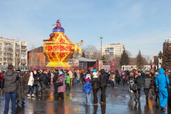 Samara people celebrates Shrovetide. Royalty Free Stock Photo