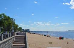 Samara, city beach on the shores of the Volga River. beautiful cumulus clouds. Samara, people on city beach on the shores of the Volga River. beautiful cumulus Royalty Free Stock Photo