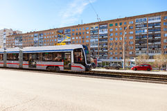 Samara public transport. New tram runs on the Lenin street in su Stock Image