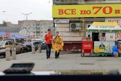 Samara, Rússia - 21 de agosto de 2014: animador com os balões para o qui Foto de Stock Royalty Free