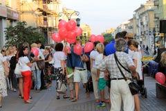 Samara, Rússia - 22 de agosto de 2014: animador, palhaço com balões Fotos de Stock