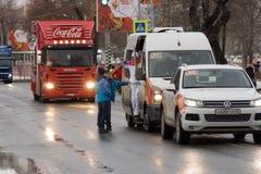 SAMARA, RÚSSIA - 25 DE DEZEMBRO: Tocha olímpica no Samara em Decemb Imagem de Stock