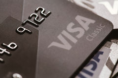 Samara, Rússia 25 de julho 2016: Close-up clássico do cartão de crédito do visto Fotos de Stock Royalty Free