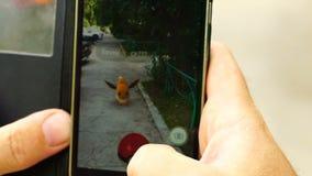 Samara, Rússia - 25 de julho de 2016: o homem que joga o pokemon vai em seu smartphone o pokemon vai jogo para múltiplos jogadore filme