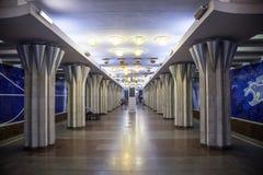Samara Rosja, Sierpień, - 06, 2016: Wnętrze stacja metru Gagarinskaya Żadny ludzie symetria Obrazy Royalty Free