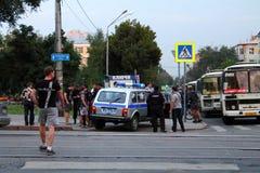 Samara, Rusland - Augustus 21, 2014: de opsluiting van misdadigers A Stock Foto's