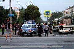 Samara, Rusland - Augustus 21, 2014: de opsluiting van misdadigers A Royalty-vrije Stock Fotografie