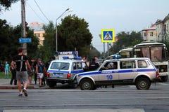 Samara, Rusland - Augustus 21, 2014: de opsluiting van misdadigers A Royalty-vrije Stock Afbeeldingen