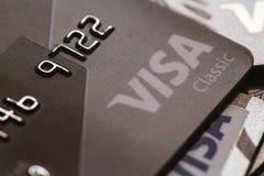 Samara, 25 Rusland-Juli 2016: Close-up van de visum het klassieke creditcard Royalty-vrije Stock Foto's