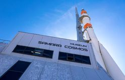 Real Soyuz spacecraft as monument and museum Samara Cosmos Stock Image