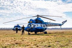 Russian Air Force Mi-2 helicopter at an field aerodrome. Samara, Russia - April 13, 2019: Russian Air Force Mi-2 helicopter at an field aerodrome in summertime royalty free stock image