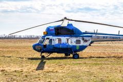 Russian Air Force Mi-2 helicopter at an field aerodrome. Samara, Russia - April 13, 2019: Russian Air Force Mi-2 helicopter at an field aerodrome in summertime stock photos