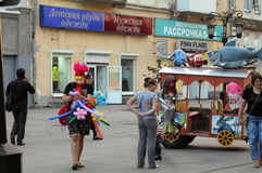Samara, Russia - August 21, 2014: animator with balloons for chi Royalty Free Stock Photography