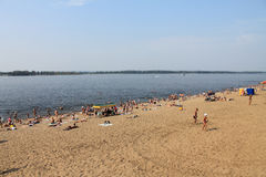 Samara, Russia - August 15, 2014: the beach at the river Volga. Royalty Free Stock Photos