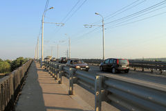 Samara, Russia - August 15, 2014: the cars go over the bridge. T Stock Photography