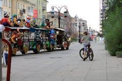 Samara, Russia - August 21, 2014: children's holiday. Kids skate Royalty Free Stock Photo