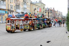 Samara, Russia - August 21, 2014: children's holiday. Kids skate Royalty Free Stock Photo