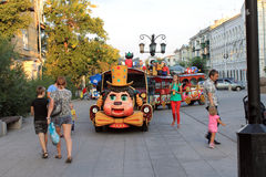Samara, Russia - August 22, 2014: children's holiday. Kids skate Royalty Free Stock Photography