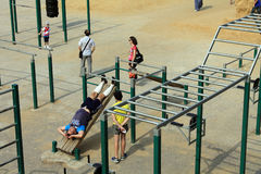 Samara, Russia - August 23, 2014: strangers on the Playground ex Stock Photos