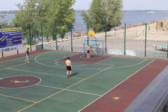 Samara, Russia - August 23, 2014: strangers on the Playground pl Stock Photos