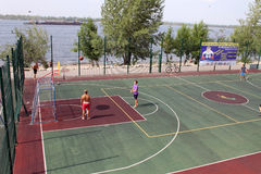 Samara, Russia - August 23, 2014: strangers on the Playground pl Royalty Free Stock Images