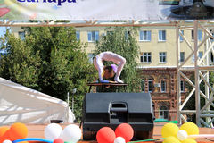 Samara, Russia - August 24, 2014: an unknown girl gymnast perfor Royalty Free Stock Photography