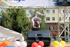 Samara, Russia - August 24, 2014: an unknown girl gymnast perfor Stock Photos