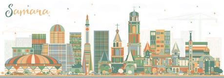 Samara Russia City Skyline avec des bâtiments de couleur illustration libre de droits