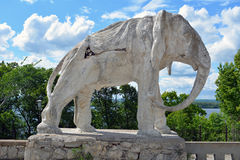 Samara, Russia - 07.06.2017: cottage of the artist Konstantin Golovkin. Sculpture of an elephant in the garden. It is a unique arc Royalty Free Stock Images