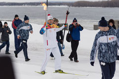 SAMARA, RUSSIA - DECEMBER 25: Olympic torch  in Samara on Decemb Royalty Free Stock Photo