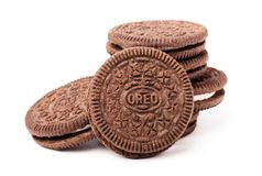 Oreo chocolate cookies stacked Stock Images