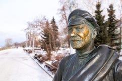 Monument to Comrade Sukhov, the main character of the movie. Samara, Russia - February 03, 2018: Monument to Comrade Sukhov, the main character of the movie `The Royalty Free Stock Photo