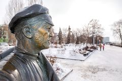 Monument to Comrade Sukhov, the main character of the movie. Samara, Russia - February 03, 2018: Monument to Comrade Sukhov, the main character of the movie `The Stock Image