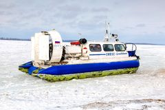 Passenger hovercraft Hivus-4 on the ice of the frozen Volga rive Stock Photos