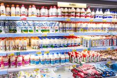 Fresh dairy products ready for sale in supermarket Lenta stock photography