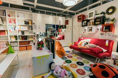 SAMARA, RUSSIA - JULY 20, 2015: A sample of the interior in IKEA store, Samara. IKEA was founded in of Sweden in 1943, IKEA to royalty free stock image