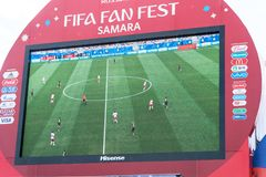 Broadcast of the match Denmark-Australia on the screen in the fan zone of the world Cup 2018. SAMARA, RUSSIA - JUNE 21, 2018: Broadcast of the match Denmark Stock Images