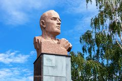 Granite monument to the Dmitry Karbyshev. Samara, Russia - June 12, 2017: Granite monument to the Dmitry Karbyshev - a Red Army general and Hero of the Soviet Stock Photo