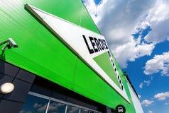 Leroy Merlin brand sign against blue sky stock image