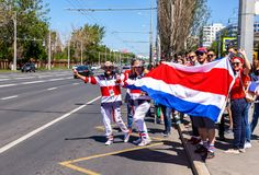 Football fans from Costa Rica on the city street Stock Image