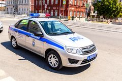 Russian police patrol car of the State Automobile Inspectorate parked up on the city street in. Samara, Russia - June 23, 2018: Russian police patrol car of the stock photos